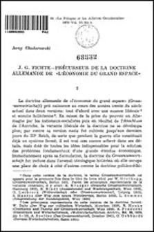 """J. G. Fichte - précurseur de la doctrine allemande de """"l'économie du grand espace"""""""