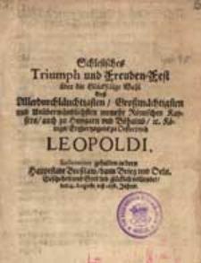 Schlesisiches Triumph und Freuden – Fest über die […].