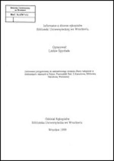 Informator o zbiorze rękopisów Biblioteki Uniwersyteckiej we Wrocławiu