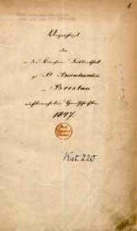 Verzeichniss der in der Kirchen Bibliothek zu St. Bernhardin in Breslau aufbewahrten Handschriften 1847