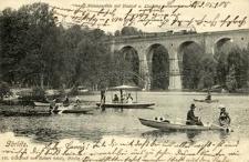 Görlitz. Neisseparthie mit Viaduct u. Laufsteg.