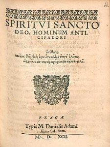 Spiritui Sancto Deo, Hominum Anticipatori [...].