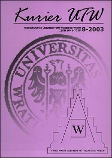 Kurier UTW: nieregularnik Uniwersytetu Trzeciego Wieku Nr 8 2003