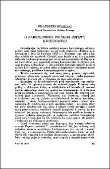 O nadrzędności polskiej ustawy kwietniowej