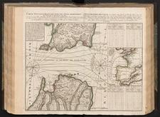 Carte Topographique des Pays et Côtes Maritimes qui forment le Détroit de Gibraltar : Enrichie de quatre Tables Methodiques qui font connoître par les quantiémes de la Lune les heures et les minutes des Marées ou Flux et Reflux de ce Détroit extraordinaires des autres mers avec des Observations curieuses sur la singularité des Courans
