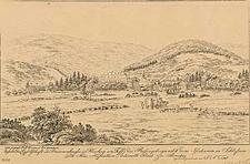 Ansicht des Gesellschafts und Brunnenhauses in Flinsberg am Fusse des Riesengebirges nebst dem Iserkamm in Schlesien
