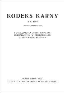 Kodeks karny z r. 1903 : (przekład z rosyjskiego) z uwzględnieniem zmian i uzupełnień obowiązujących w Rzeczypospolitej Polskiej w dniu 1 maja 1921 r.