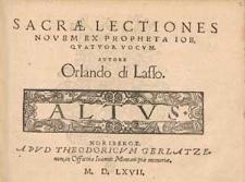 Sacrae lectiones novem ex propheta Iob, quatuor vocum. [...]