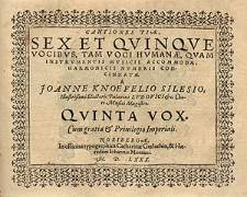 Cantiones piae, sex et quinque vocibus, tam voci humanae [...] Quinta vox