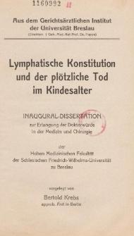 Lymphatische Konstitution und der plötzliche Tod im Kindesalter